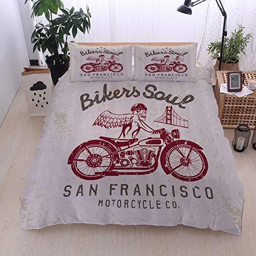 LiBei Bedding Juego de Funda de Edredón,Bikers Soul San Francisco Emblema con Skull Wings Riding Motorcycle Dead Ilustración,Juego de Funda Nórdica y 2 Funda de Almohada(Super 220x260cm)