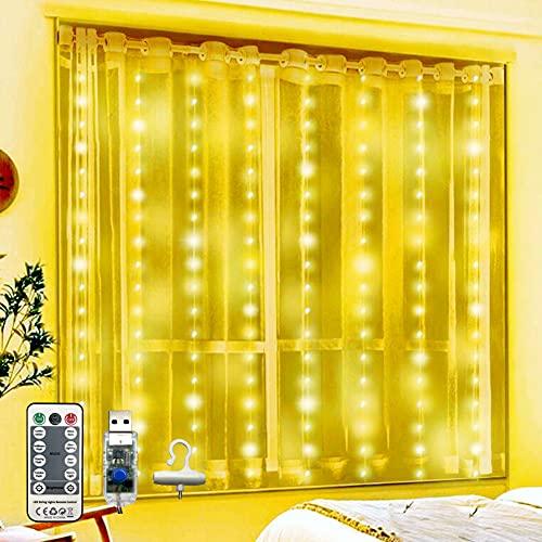 Tenda Luminosa,Tenda di Luci 2.4x1.8M 300LED con Telecomando, 8 Modalità (TIMER) e Impermeabile a IP65, Alimentata da USB per Decorare Camera da Letto, Finestra, Feste di Natale e Compleanno