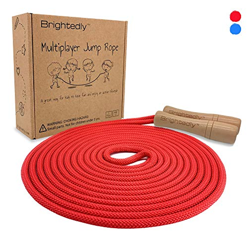 Brightedly 16ft Long Jump Rope Kids - Classic Look Wooden Handle - Durable Kids Jumping Rope - Skipping Rope - Outdoor Fun Activity, Great as a Gift or Party Favor
