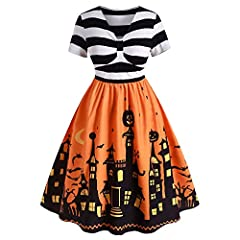 Material: Cotton,Polyester,Spandex.Great sense of touch, lightweight, skin-touch, super soft and comfortable It features a striped bodice with knotted detail and 3D castle pumpkin print skirt for your classic Halloween choice The gorgeous vintage-sty...
