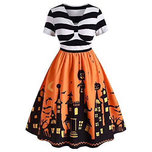 ROSE GAL Women's Plus Size Halloween Dress Funny Striped Pumpkin Halloween Costume Flared Dresses 2XL