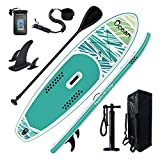 FEATH-R-LITE Inflatable 10'5''x33''x6''Stand Up Paddle Board Ultra-Light (18.9lbs) SUP with Accessories Adj Paddle, ISUP Backpack, Pump, Phone Bag, Leash, Non-Slip Deck pad Youth & Adult