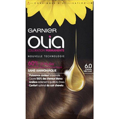 Garnier - Olia - 6.0 Châtain très clair, Coloration permanente, Sans ammoniaque - La boîte de 174ml - (pour la quantité plus que 1 nous vous remboursons le port supplémentaire)