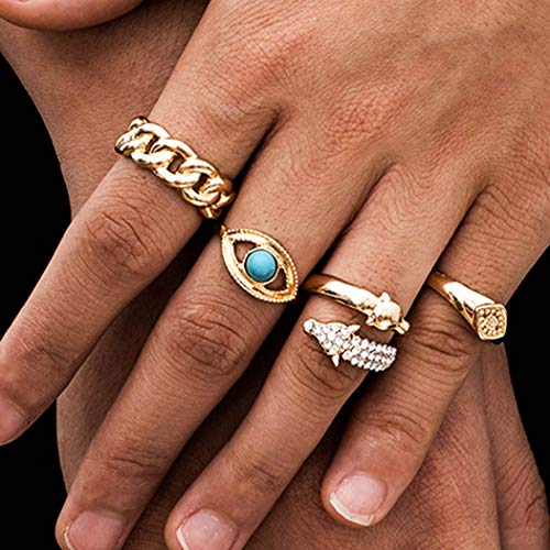 Sethain Boho Turquesa Nudillo Anillos Conjunto Oro Diamante de imitación anillo Cristal Dedo anillo Joyería para mujeres y niñas