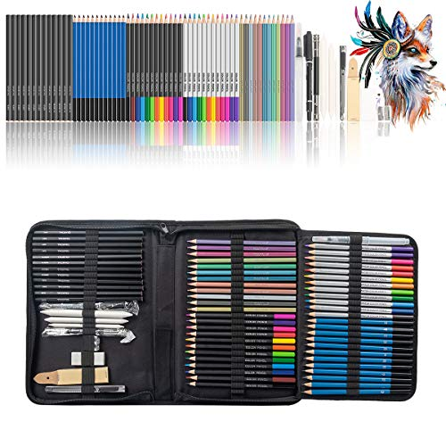 Wellwerks art supplies, 71 pack drawing pencils set, Portable Professional Sketch Kit, Include Colored, Graphite, Charcoal, Watercolor, and Metallic Color Pencils, Gift for Kids, Man,Women, Artists