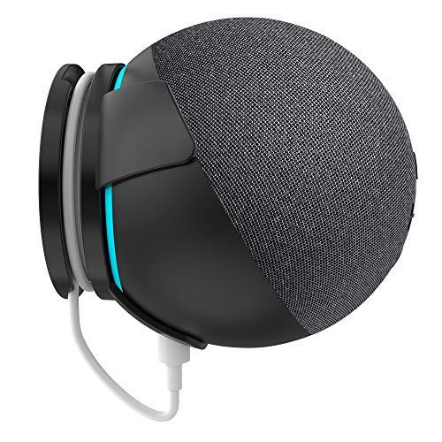 PlusAcc Wandhalterung für Dot (4. Generation) Halterung Ständer mit integriertem Kabelmanagement für Küche Bad (1-Pack, Schwarz)