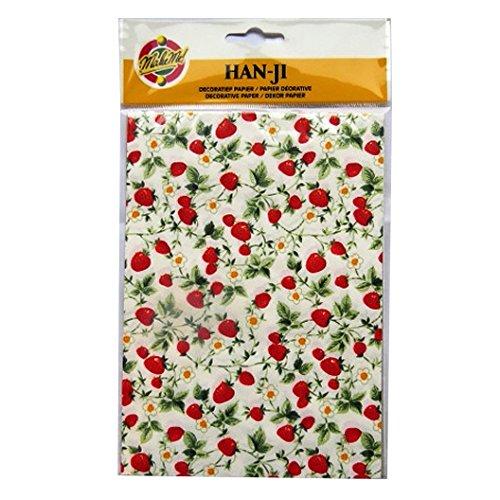 Handgefertigte Dekorative Koreanischen Han-Ji Maulbeerpapier - 2 Designs - Erdbeerpflanze und Gold Weberei - 3 Blatt von jeder - Größe 212mm x 151mm