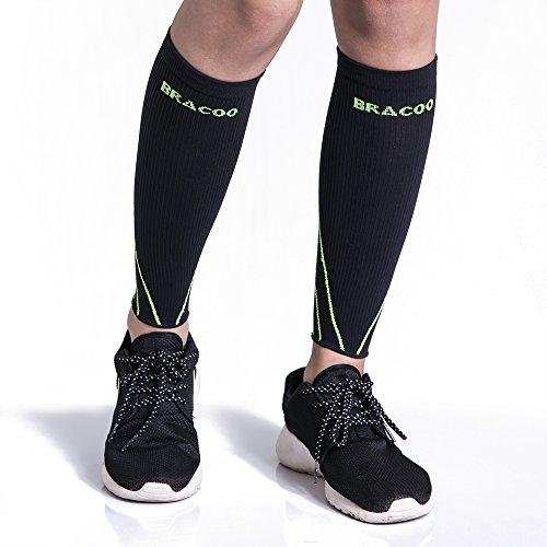 Bracoo LE70 Waden Kompressionsstulpen – Beinlinge – Wadenbandage –Wadenkompression | Laufstulpen ideal beim Sport wie Laufen und Radfahren | L | weiß