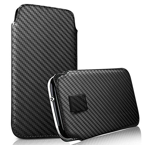 DOT. für Asus Zenfone Live (L2) Haltbar Schutz Tasche Kunstleder Schutzhülle mit Einfacher Zugang Zug Tab Kordel Slip - Carbon Faser Schwarz