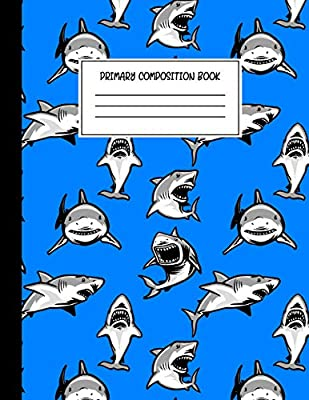 Primary Composition Book: Story Journal For Boys with Dotted Midline Story Space and Picture Space, Grades K-2 Composition School Exercise Book (Shark Notebook)