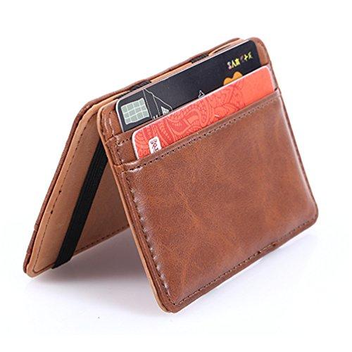 Portafogli uomo, Kfnire pelle stile clip commercio soldi magia caso sottile del mens supporto di identificazione del raccoglitore della carta di credito (Marrone chiaro)