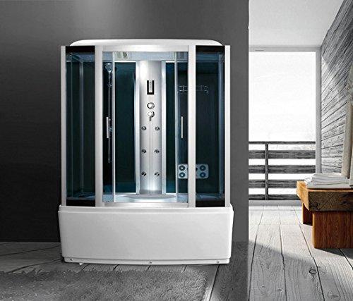 Bagno Italia Cabina de hidromasaje con 6 chorros con jacuzzi, baño turco, Bluetooth, cabina de ducha, 170 x 85 cm
