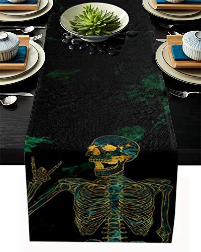 FAMILYDECOR Camino de mesa de arpillera de lino, 40,6 x 182,8 cm, diseño de calavera de mármol, antideslizante, para fiestas de vacaciones, comedor, hogar, cocina, decoración de boda