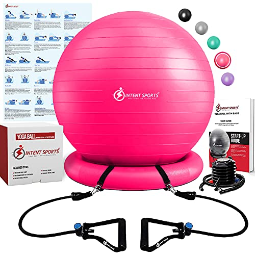 Intent Sports Yoga Ball Chair – Stability Ball with Inflatable Stability Base & Resistance Bands, Fitness Ball for Home Gym, Office, Improves Back Pain, Core, Posture & Balance (65 cm) (Pink)