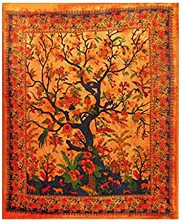 AUNERCART Orange Tapestry Indian Traditional Tree of Life Tapestry Wall Hanging Art Indian Wall Tapestries Home Decor Bedspread Collage Drom Throw 85x55 Inches