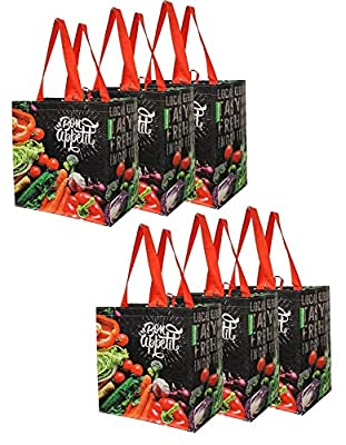 Earthwise Reusable Grocery Shopping Bags Extremely Durable Multi Use Large Stylish Fun Foldable Water-Resistant Totes Design - Chalkboard Veggies (Pack of 6)