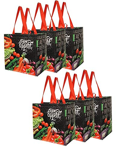 Earthwise Reusable Grocery Shopping Bags Extremely Durable Multi Use Large Stylish Fun Foldable WaterResistant Totes Design  Chalkboard Veggies Pack of 6