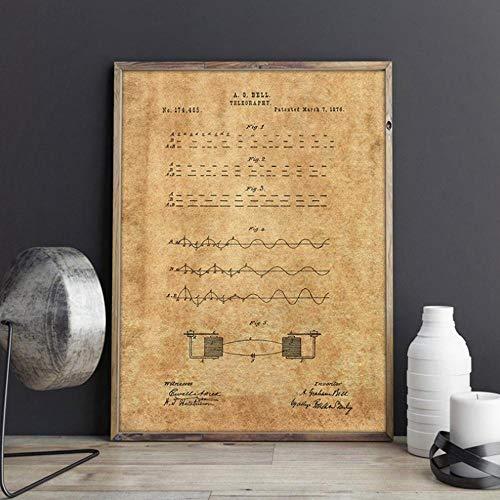Morsecode Patent Drucke Morsecode Schlüssel Wandkunst Telegramm Poster Militär Wanddekor Vintage Blaupause Leinwand Malerei Geschenk B 24x32inch (60x80cm)