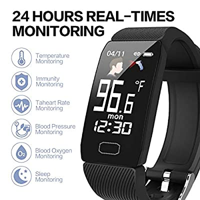 ULBRE AI Smart Temperature Monitoring Bracelet Body Temperature Heart Rate Blood Pressure Sleep Blood Oxygen Monitoring Activity Tracker Smart Wristband Watch for Adult Kids