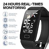 ULBRE AI - Termómetro de temperatura, monitor de presión arterial, medidor de oxígeno en sangre, reloj inteligente de pulsera para adultos y niños