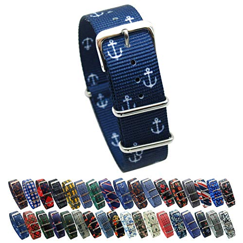 HNS Watch Straps -Choice of Pattern & Width (18mm, 20mm, 22mm) - Ballistic Nylon Straps (20mm, Small Anchor)