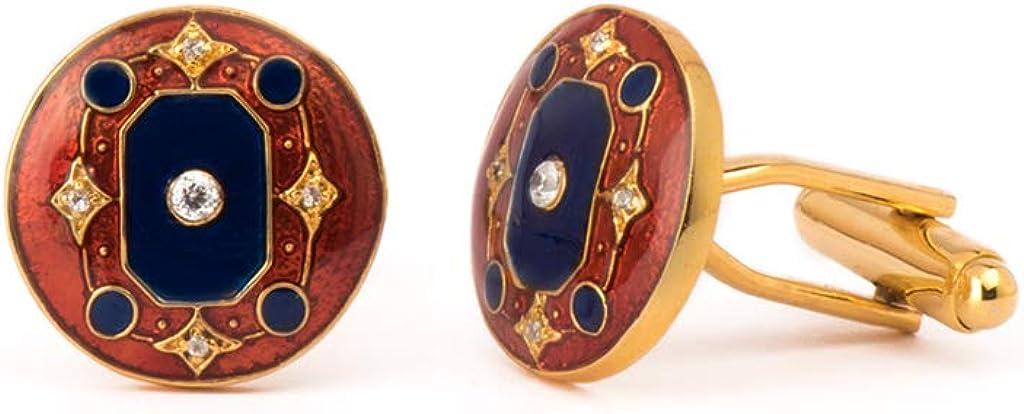 Rosec Jewels Limited Special Price American Diamond Blue Brass D Fashion Cufflinks Maroon Art