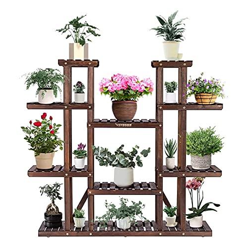 VIVOSUN Wood Plant Stand Indoor Outdoor 9 Tier Wooden Plant Shelf 17 Potted...