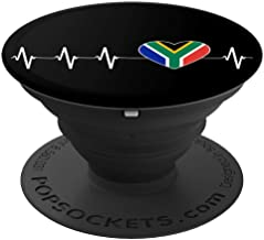 South African Heartbeat I Love South Africa Flag Heart Gift PopSockets Grip and Stand for Phones and Tablets