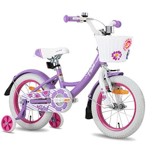 HILAND Petal 12 Zoll Kinderfahrrad für Mädchen 2-4 Jahre mit Korb, Stützräder, Handbremse und Rücktritt Lila
