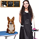 Noverlife Sleeveless Waterproof Pet Grooming Apron with Pockets, Anti-static Hair Repellent Dog Cat Grooming Apron, Pet Bathing Showering Smock Pet Shop Workwear for Beauticians Groomers