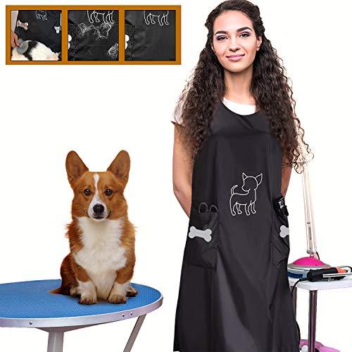 Noverlife wasserdichte Schürze, antistatische haarabweisende Hundekatze Pflege Schürze Kleidung mit Tasche Professionelle Nylon Pet Shop Arbeitskleidung für Kosmetikerinnen, Schwarz XL