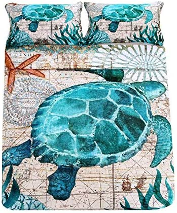 trend rank SDIII 2Pieces Turtle New product! New type Bedding Aqua Beach Ocean Themed Turquoise H