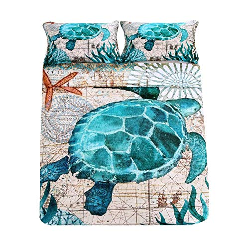 SDIII 2Pieces Turtle Bedding Aqua Turquoise Ocean Beach Themed Hawaiian Nature Style Twin Size Tortoise Duvet Cover Sets