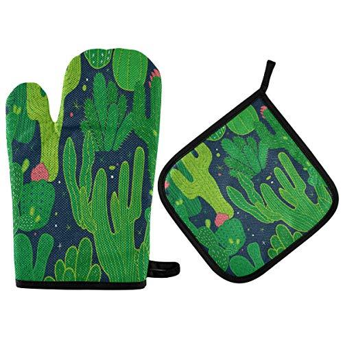 Nander Funny Pot Holder Gloves Mitts Heat Resistant Kitchen Cooking Potholder Mat for BBQ Insulation Gloves Hot Oven Mitts Baking - Green Cactus Art