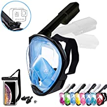 Foldable Full face Snorkeling mask with New Safety Breathing System, 180-degree Panoramic View, Waterproof and Anti-Fog, with Camera Stand, Universal Snorkeling mask(S/M)