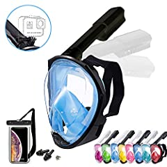 ♡ Foldable FULL FACE SNORKEL MASK AND SUPPORT SPORT CAMERA: Our full face snorkel mask set uses a transparent flat-lense made by high-definition PU resin, the full-face design allows breathe comfortably during your snorkel and enjoy the 180º Panorami...