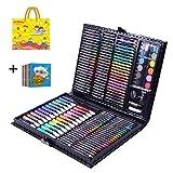 ZZAZXB 168 Pieza Cepillo De La Acuarela Arte De La Pintura Conjunto para Dibujar Y Dibujar Pintura Fijaron para Niños del Artista Principiante Incluye Libro del Bosquejo,Negro