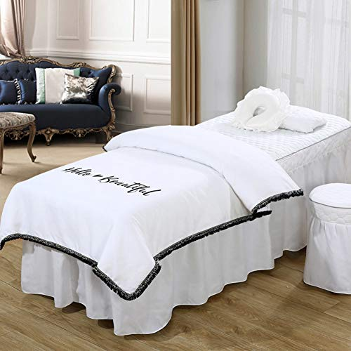 Solid Color Quilting Beauty Bed Cover, 4-Piece Massage Table Sheet Sets Bedspread with Face Rest Hole Soft Cotton Massage-linens Set-i 70x190cm(28x75inch)