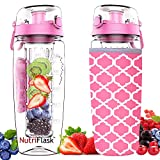 Nutriflask Fruit Infuser Water Bottle - 1 Litre, Infusion Detox Recipe eBook, Bottles