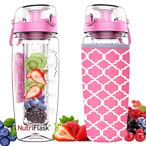 Nutriflask Fruit Infuser Water Bottle - 1 Litre, Infusion Detox Recipe eBook, Bottles Cover and Other Accessories (Pink)