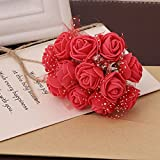 Ganghuo 144 unidades por paquete mini espuma artificial ramo de flores de rosas para decoración de boda suministros de manualidades