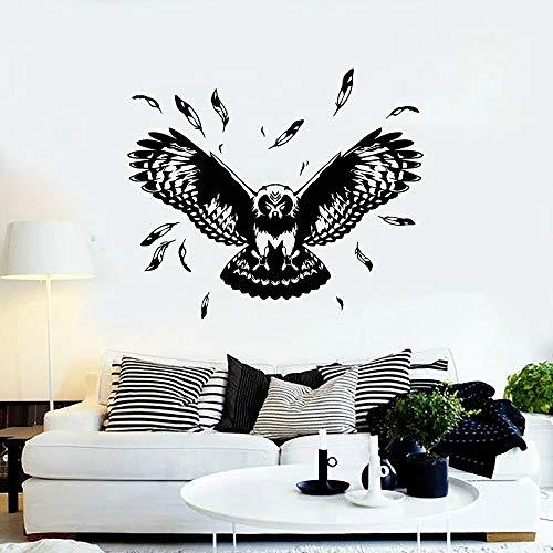 Etiqueta engomada de la pared del vinilo de la decoración del pájaro y de la pluma del pájaro