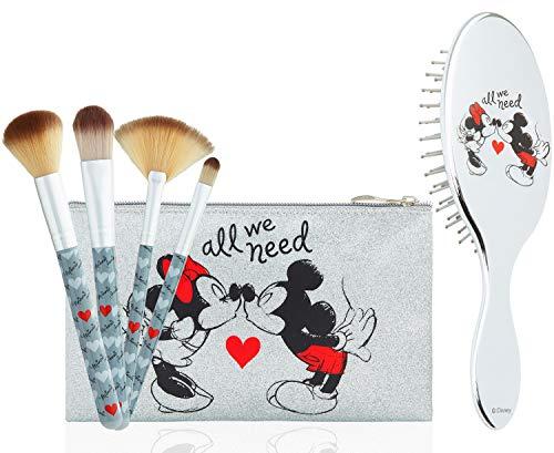 Disney Schmink Pinsel und Haarbürste Damen Kosmetik Set, Minnie Mouse Make up Ta...