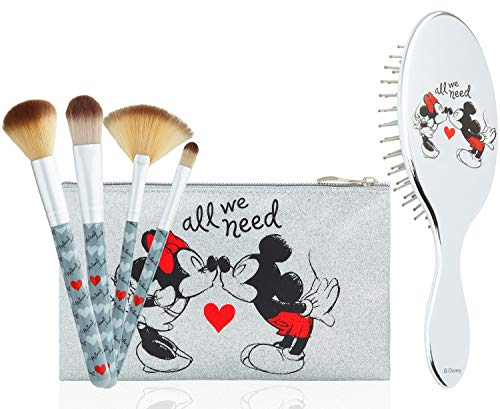 Disney Schmink Pinsel und Haarbürste Damen Kosmetik Set, Minnie Mouse Make up Tasche, Kulturtasche Mädchen Set, Tangle Teezer Haarbürste Mädchen Kosmetiktasche Klein, Geschenke für Mädchen