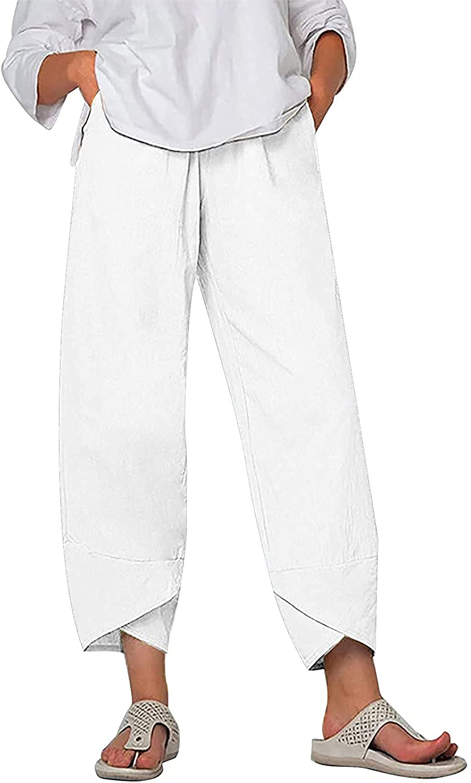 GADSUVI Summer Pants Max El Paso Mall 75% OFF for Women Pockets Cotton Linen Wide Casual