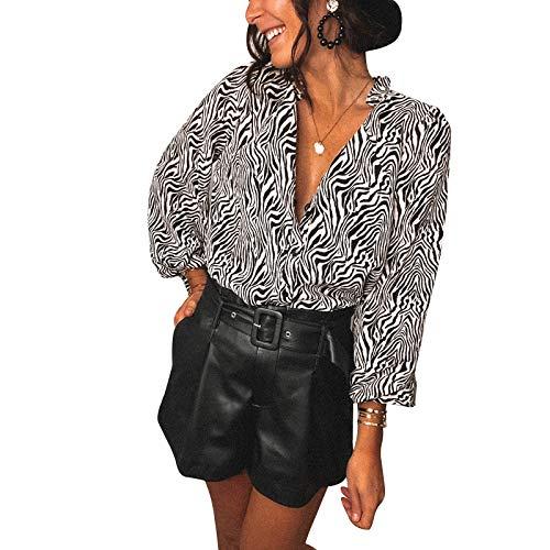 Loalirando Camisa de mujer de encaje de manga larga, elegante, sexy, cuello en V, para noche, Clubwear blanco XL