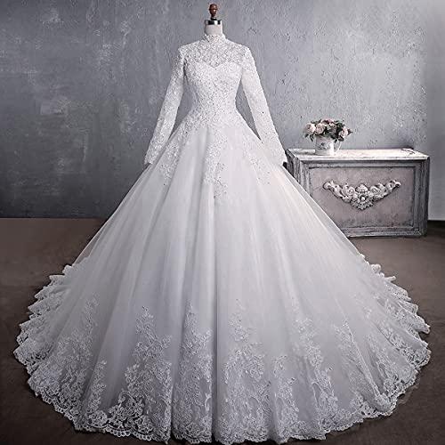 Vestidos longos formais de noiva para noiva, Vestido de noiva de gola alta de manga comprida, Enfeite de bordado de renda 65 cm cauda longa, personalização de suporte,Short-S