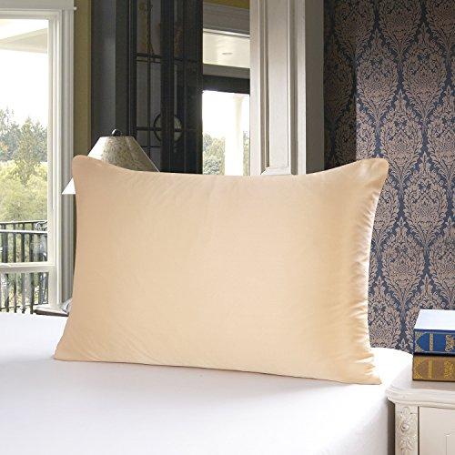 Townssilk Taie d'oreiller 100 % en soie des deux côtés (19 mm) avec fermeture éclair dissimulée, Soie, doré, 40 x 60 cm