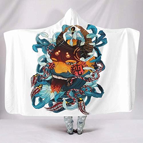 Fleece Blanket Japonés Oni Tattoo Print Encapuchado Creativo Aficionados Tiernos Capa Descansando Impresión Blanca Ligero Office Fleece Manta Dormitorio Unisex Viajando 102X127Cm