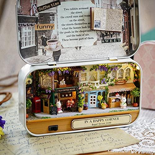 01 Casa de muñecas, Divertida Hermosa Elegante excelente Miniatura casa de muñecas en Miniatura para Adorno de Escritorio para Regalo de cumpleaños(Happy Street Corner, Polar Animals)